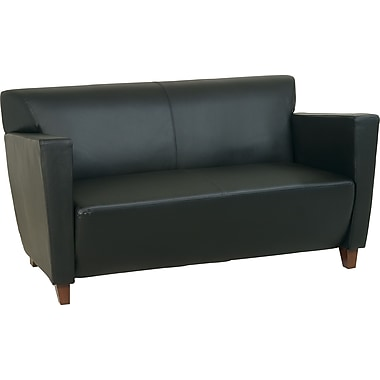 Office Star Black Leather Loveseat