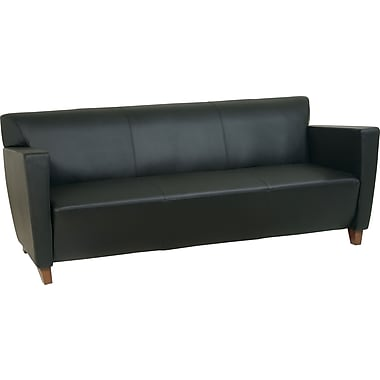 Office Star Leather Sofa, Black (SL8473)