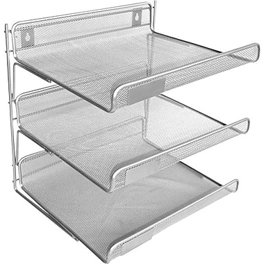 Staples Silver Wire Mesh 3-Tier Desk Shelf, 12 1/2in.H x 13 1/4in.W x 10 3/4in.D
