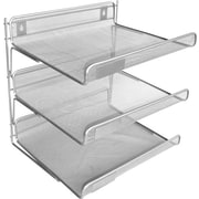 Staples® Silver Wire Mesh 3-Tier Desk Shelf, 12 1/2H x 13 1/4W x 10 3/4D