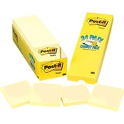 "Post-it® Notes, 3"" x 3"", Canary Yellow, 24 Pads/Cabinet Pack (654-24CP)"