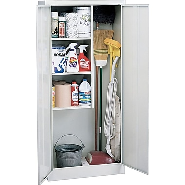 Sandusky Janitorial Supply Cabinet, 66in.H x 30in.W x 15in.D, Dove Gray