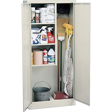 Sandusky Janitorial Supply Cabinet, 66in.H x 30in.W x 15in.D, Putty