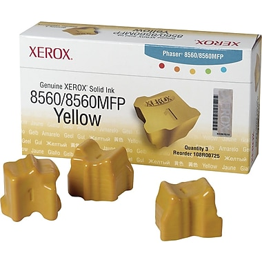 Xerox Phaser 8560/8560MFP Yellow Solid Ink (108R00725), 3/Pack