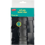 Staples® Large Soft Grip Binder Clips, Black, 2 Size with 1 Capacity