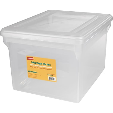 Staples Letter/Legal File Box, Clear