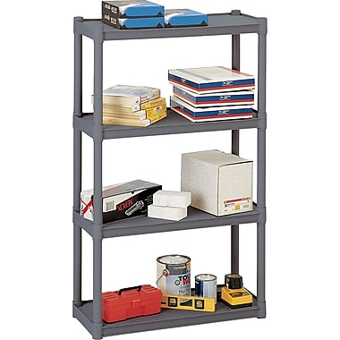 Iceberg Rough n Ready Plastic Shelving, 4 Shelves, Charcoal, 54in.H X 32in.W X 13in.D