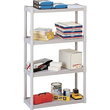 Iceberg Rough n Ready Plastic Shelving, 4 Shelves, Platinum, 54in.H X 32in.W X 13in.D