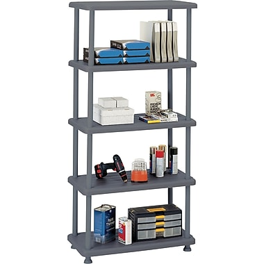 Iceberg Rough n Ready Plastic Shelving, 5 Shelves, Charcoal, 74in.H x 36in.W x 18in.D