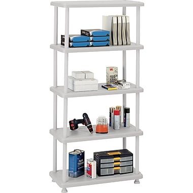 Iceberg Rough n Ready Plastic Shelving, 5 Shelves, Platinum, 74in.H x 36in.W x 18in.D