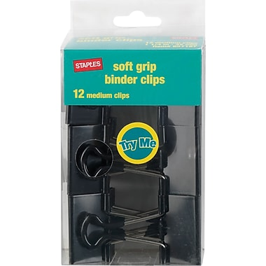 Staples Medium Soft Grip Binder Clips, Black, 1 1/4in. Size with 5/8in. Capacity