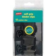 "Staples® Medium Soft Grip Binder Clips, Black, 1 1/4"" Size with 5/8"" Capacity"