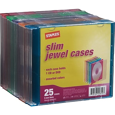 Staples 5mm Slim Jewel Cases, 25/Pack
