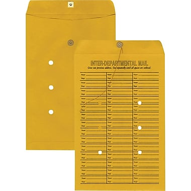 Staples® 10in. x 15in. Brown Kraft Button-and-String Inter-Departmental Envelopes, 100/Box