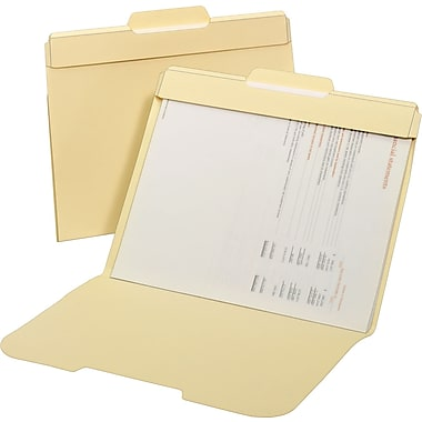 Staples Secure Manila File Folders, Letter, 3 Tab, Center Position, 24/Box