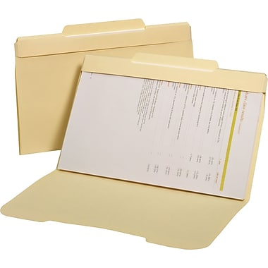 Staples® Secure Manila File Folders, Legal, 3 Tab, Center Position, 50/Box
