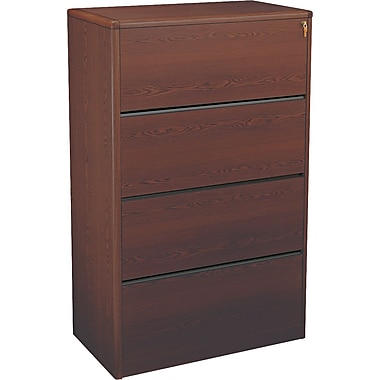 HON® 10700 Series Wood Lateral File Cabinet, 36in. Wide, 4-Drawer, Mahogany