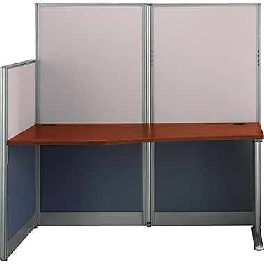 Bush Office in an Hour Straight Workstation with Panels, Hansen Cherry, Fully Assembled