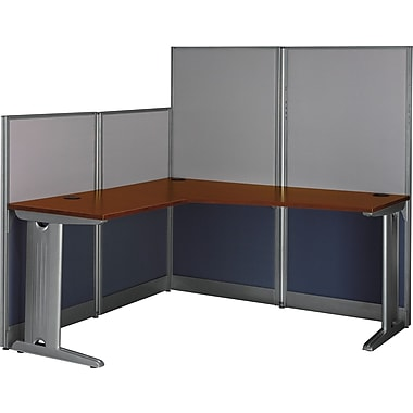 Bush Office in an Hour L-Workstation with Panels, Hansen Cherry
