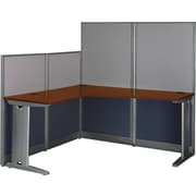 Bush Office in an Hour L-Workstation with Panels, Hansen Cherry, Fully Assembled