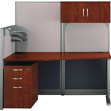 Bush Office in an Hour Straight Workstation with Panels and Storage, Hansen Cherry