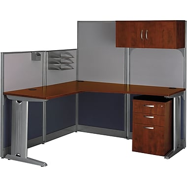 Bush Office in an Hour L-Workstation with Panels and Storage, Hansen Cherry