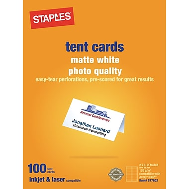 Staples 14634-CC Laser & Inkjet Tent Cards, Matte White, 100/Pack