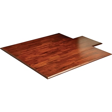 Anji Mountain Deluxe Roll-Up Bamboo Chair Mat, Standard Lip, 55in.x57in., Dark Cherry