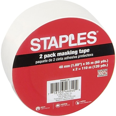 Staples® Masking Tape, 2in. x 60 Yards