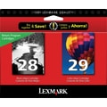 Lexmark 28/29 Black and Color Ink Cartridges (18C1590), 2/Pack