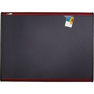 Quartet® 4' x 3' Prestige Plus® Magnetic Fabric Bulletin Board with Mahogany Finish Frame