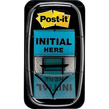 Post-it® 1in. Blue in.Initial Herein. Flags with Pop-Up Dispenser, 2/Pack