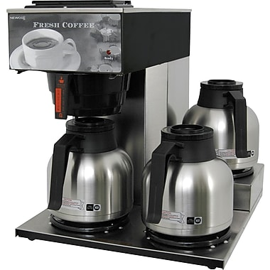 Newco® 3-Station 12-Cup Coffee Brewer, Stainless Steel/Black