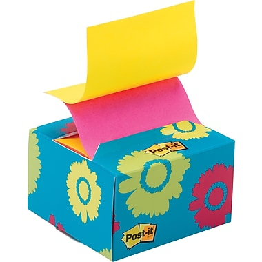 Post-it® 3in. x 3in. Pop-up Notes with Blue Daisy Desk Grip Dispenser, Each