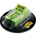 Post-it® 1in. Green in.Sign & Datein. Flags with Desk Grip Dispenser, 200 Flags/Pack