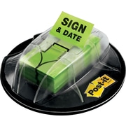"Post-it® 1"" 'Sign and Date' Message Flags, Bright Green, 200 Flags/Desk Grip Dispenser (680-HVSD)"
