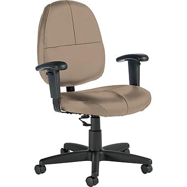 Global Custom Leather Task Chair with Arms, Latte