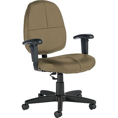 Global Custom Leather Task Chair with Arms, Melon
