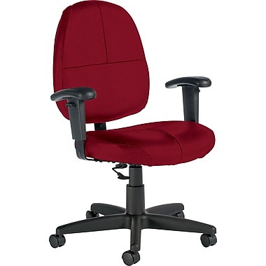 Global Custom Leather Task Chair with Arms, Rouge