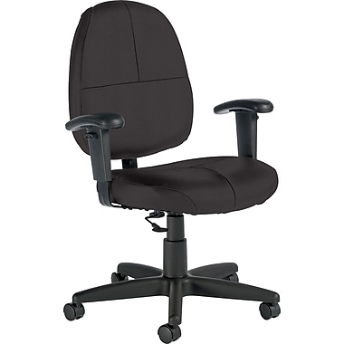 Global Custom Leather Task Chair with Arms, Graphite