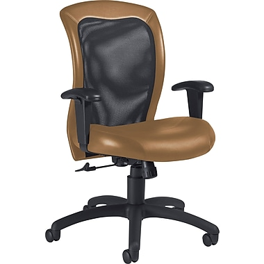 Global Airflow Custom Leather Mesh-Back Chair, Chamois