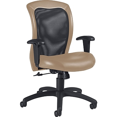 Global Airflow Custom Leather Mesh-Back Chair, Latte