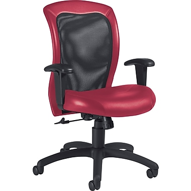 Global Airflow Custom Leather Mesh-Back Chair, Rouge