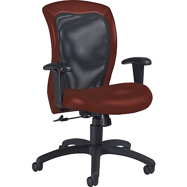 Global Airflow Custom Leather Mesh-Back Chair, Cabernet