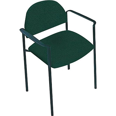 Global Custom Comet Stacking Reception Chair with Arms, Hunter Green, Premium Grade