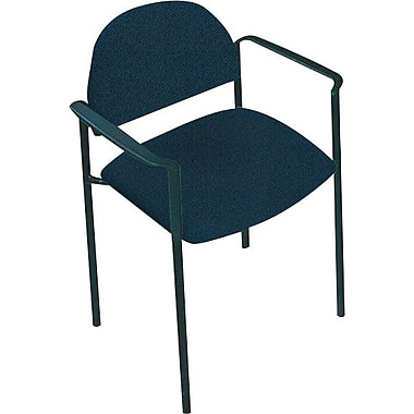Global Custom Comet Stacking Reception Chair with Arms, Navy Blue, Premium Grade