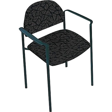 Global Custom Comet Stacking Reception Chair with Arms, Carbon, Premium Grade