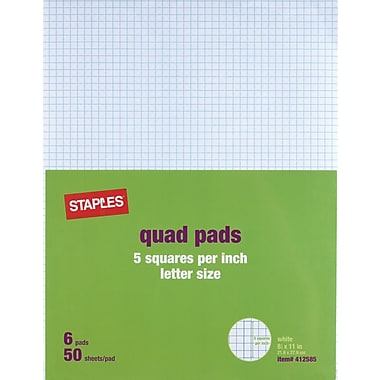 Staples® 5 x 5 Graph Pads, 8-1/2in. x 11in.