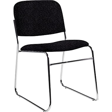 Global Custom Chrome Stack Chair, Black, Premium