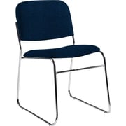 Global Custom Chrome Stack Chair, Navy Blue, Premium Grade